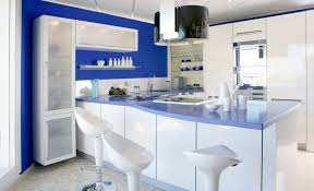7 Black And White Kitchen Island Interior Design Ideas by Lovely Blue Kitchen Walls For Those Who Adore A Fresh Decoration