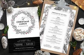 christmas menu templates flyer templates creative market