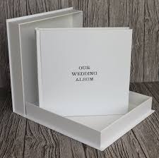 luxury wedding albums bespoke album company white leather drop back box clamshell
