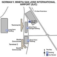 san jose airport on map norman y mineta san jose international airport airport maps
