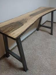 Wood Bench With Metal Legs Buy Handmade Live Edge Furniture Live Edge Blackjack Oak Desk