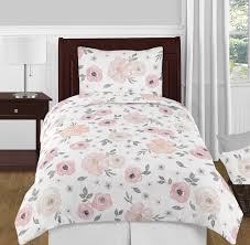 Pottery Barn Comforter Bedroom Blush Pink Grey And White Shab Chic Watercolor Floral