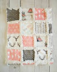Crib Bedding For Girls Woodland Crib Quilt For Baby Coral Crib Bedding With Deer