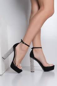 rhinestone round chunky high heel open toe glitter platform