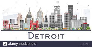 Michigan Business Travel images Detroit michigan city skyline with gray buildings isolated on jpg