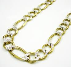 figaro chain gold necklace images 10k yellow gold diamond cut cuban chain 30 inch 12mm jpg