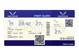fake plane ticket with scan smart barcode modern qr code stock