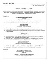 financial analyst resumes resume template senior financial analyst resume exles free