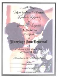 wedding vow renewal ceremony program couples portrait marriage vow renewal certificate