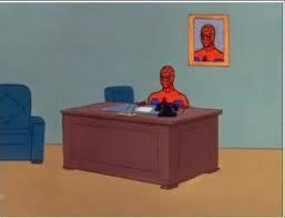 Spiderman Table Meme - spiderman computer desk blank meme template imgflip