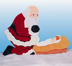 santa and baby jesus picture and baby jesus wood pattern