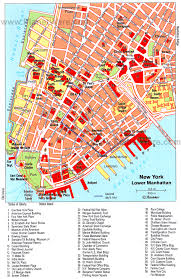 New York City Map With Attractions by Battery Park City Parking Map Map Of Lower Manhattan