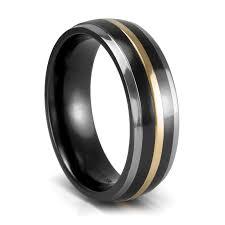 titanium band mystique black titanium 18k gold wedding band 7mm