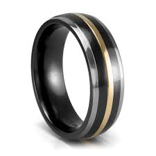 black titanium wedding bands mystique black titanium 18k gold wedding band 7mm