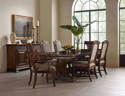 seven piece trestle table upholstered side chair and harp back