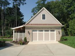 another version of a detached garage with porch to the side new