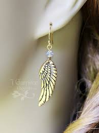 wing earrings gold angel wing earrings swarovski crystals in birthstone colors