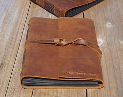 leather photo album personalized brown leather album etsy