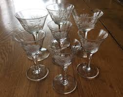 Hughes Cornflower Crystal Cordials Vintage Glassware Etsy