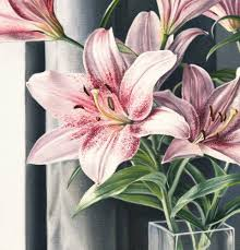 pink lillies saatchi pink lilies painting by beccher