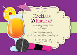Cocktail Party Invitation Cards Karaoke Invitation Cocktails U0026 Karaoke Party Invite For
