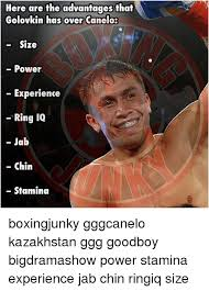 here are the advantages that a golovkin has over canelo size power