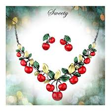 earrings statement necklace images Hamer women 39 s red cherry party jewelry set statement jpg