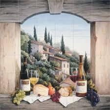 still life in the italian hills kitchen tile backsplashes murals