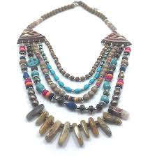 multi layer beaded necklace images Wooden multi layer colorful beaded bohemian necklace women jewelry jpg