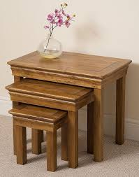 french rustic solid oak nest of 3 side tables amazon co uk