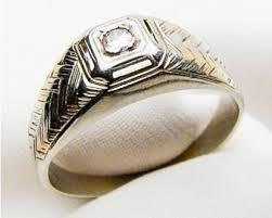 men s wedding ring vintage men s tri color diamond ring midcentury men s wedding band