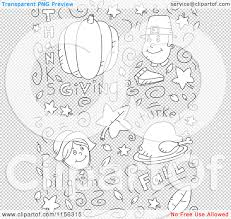 thanksgiving items cartoon clipart of a black and white holiday doodle background of