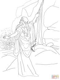 moses strikes the rock and water comes out coloring page free