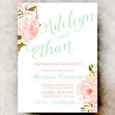 wedding invitations floral coral mint green wedding invitation floral wedding invitation