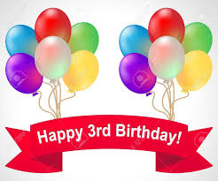 happy third birthday balloons meaning 3rd celebration 3d