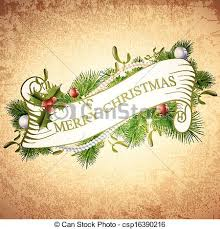 vector clip art of vintage merry christmas greetings design with