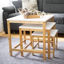 Wohnzimmertisch Klein Rund Relaxdays Beistelltisch Bamboo 3 Satztisch Wohnzimmertisch Holz