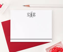 monogram stationery monogrammed stationery set 3 letter traditional modern pink paper