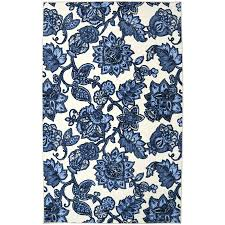 Cream And Blue Rug Shop Mohawk Home Arranged Melody Blue Rectangular Indoor Tufted