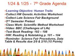 1 24 u0026 1 25 7th grade agenda learning objective human traits