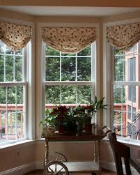 roller shades in a bow window and custom valance in matching