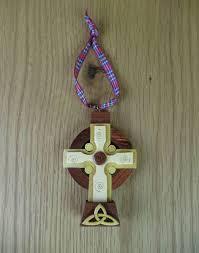 wooden celtic cross wooden scottish celtic cross hanging ornament scotland s bothy