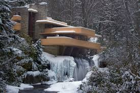 fallingwater during winter in wisconsin designed by frank lloyd