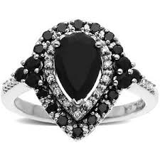 black engagement rings zales pear shaped onyx ring in sterling silver with enhanced black