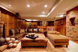 pretty leather sectional with chaise in family room contemporary