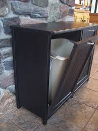 Kitchen Cabinet Trash New Black Painted Wood Double Trash Bin Cabinet Garbage Can Tilt
