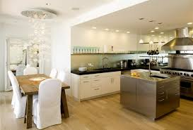 Open Kitchen Dining Room by Dining Room Large Modern Living Sace With White Open Kitchen