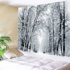 snowy forest avenue print tapestry wall hanging art white w inch