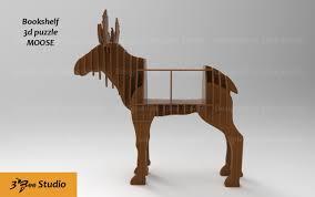 moose bookshelf 3d puzzle plan vector file for cnc 3bee studio
