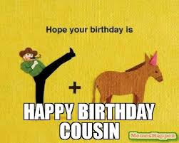 Cousin Meme - funny happy birthday mom dad brother sister cousin memes jokes